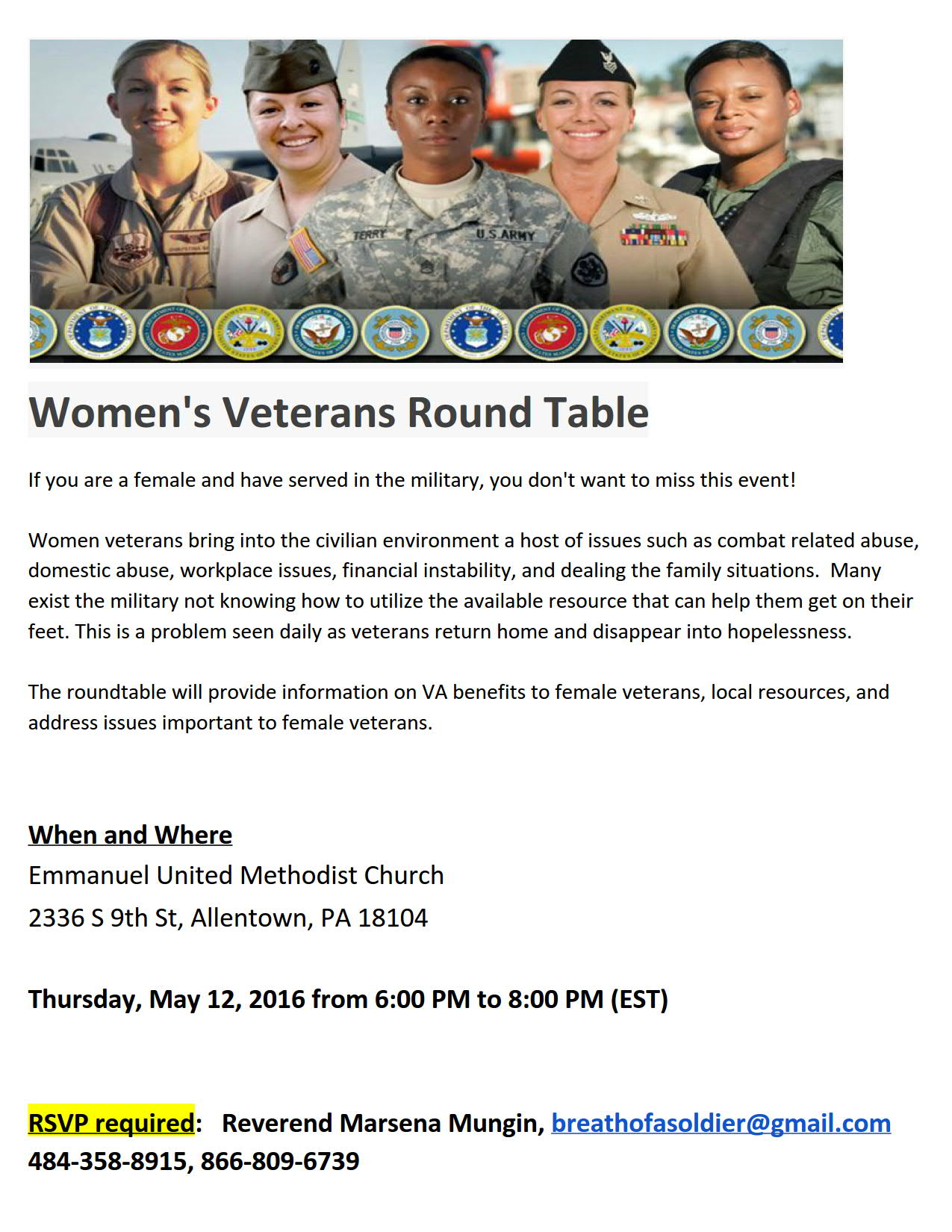 Breath of a Sol r Women Vet Round Table Flyer 12May2016