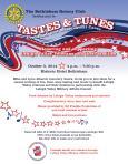 Bethlehem Rotary Tastes&Tunes Flyer 5Oct2014