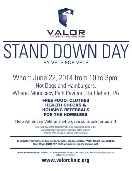 VALOR Clinic Foundation Stand Down Flyer 22Jun2014