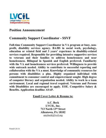 LVCIL SSVF ComCoord Job Opening 27Jun2016